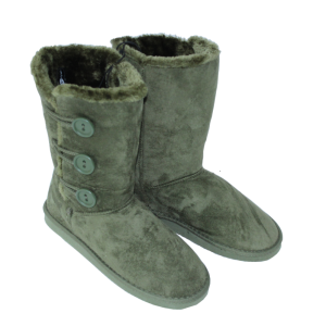 Olive Green faux Suede Fur Boots