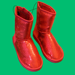 Red Glitter Sequin Boots