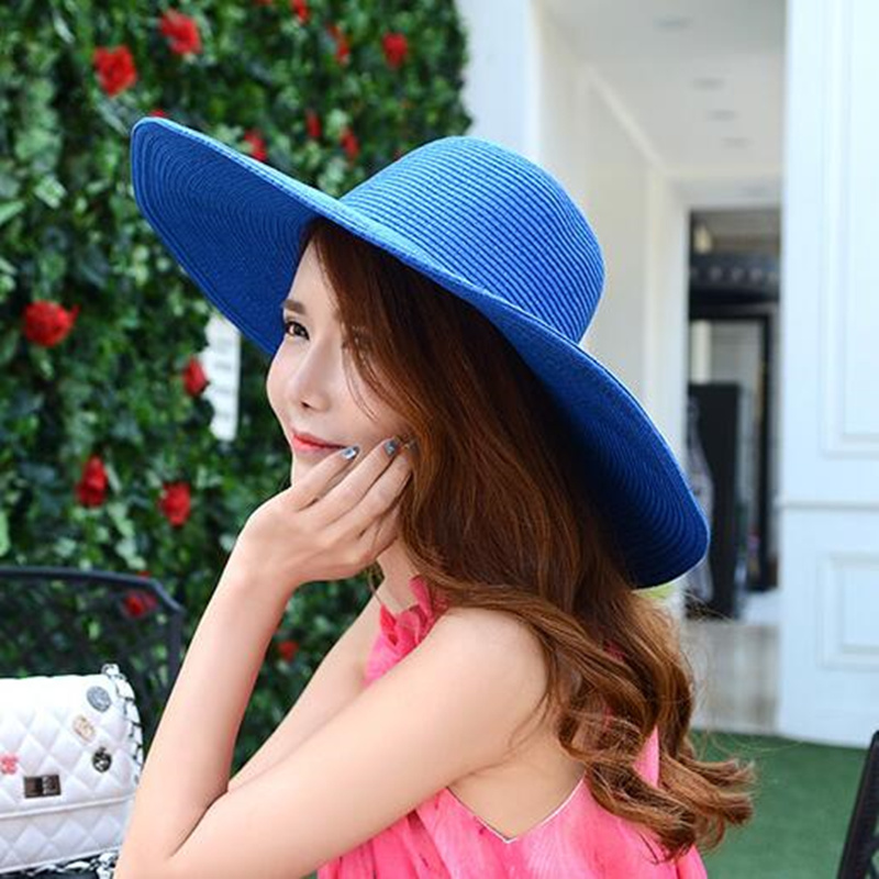 oZyc 2018 Fashion Women s Ladies  Foldable Wide Large Brim Floppy Summer Sun  Beach Hat Straw Hat Cap Drop Shipping 17 Color 3fa001ec6