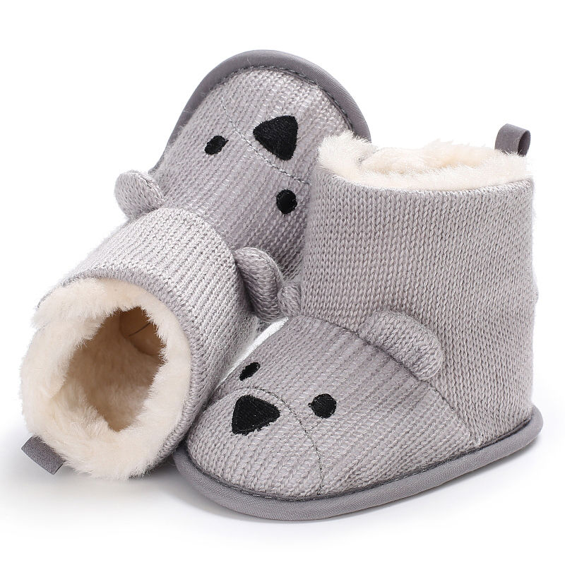 7e32c4609eb12 Winter Baby Snow Boots Warm Toddler shoes Baby Girl Shoes Knitted Cartoon  Bear first walker Infant Newborn Baby Shoes Footwear